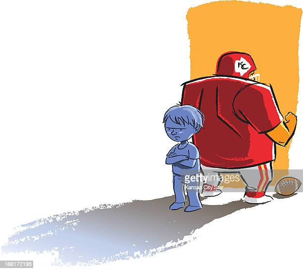 Hector Casanova color Illustration of pouting kid turning his back on an NFL football player can be used with stories about kids not connecting with...