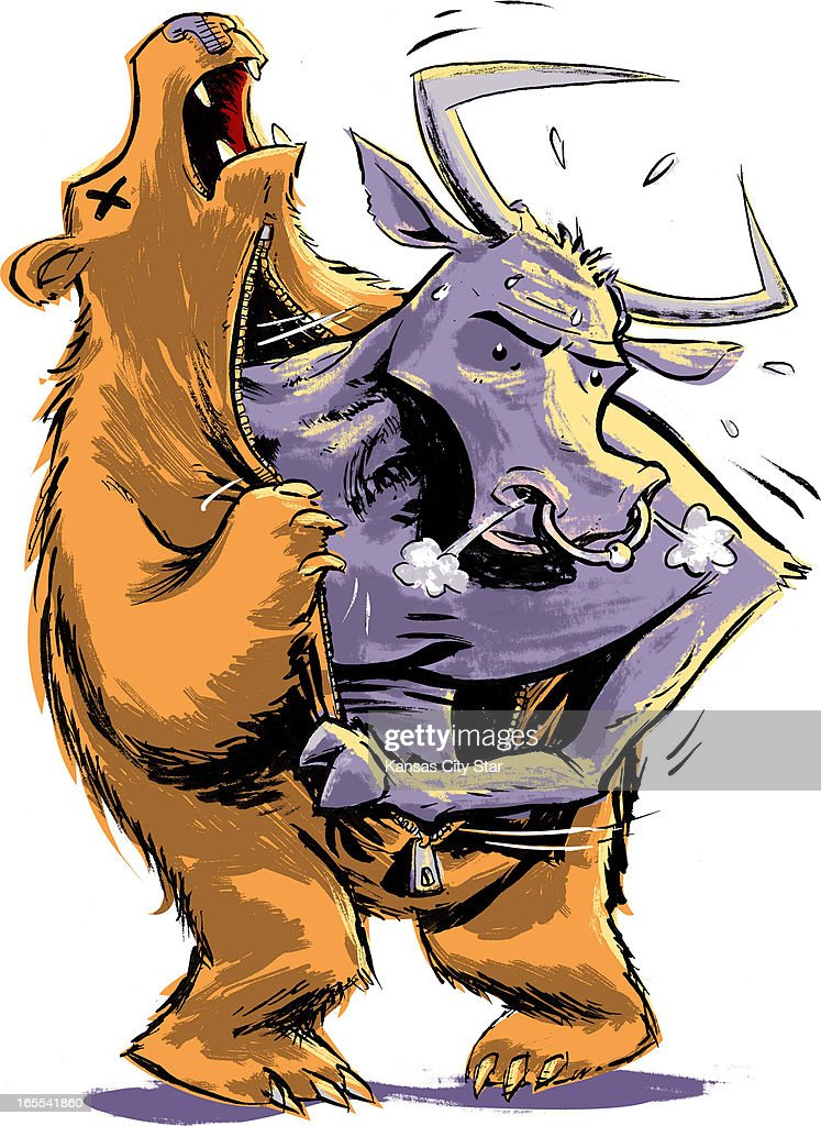 Hector Casanova color illustration of snorting bull emerging out of a zipfront bear costume