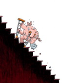 Hector Casanova illustration of battered and bandaged piggybank climbing its way up steep stairs can be used with stories about economic economic...