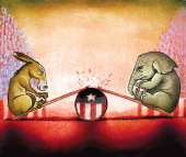 Hector Casanova illustration of the Democrat donkey and Republican elephant on a seesaw with the plank breaking in the middle