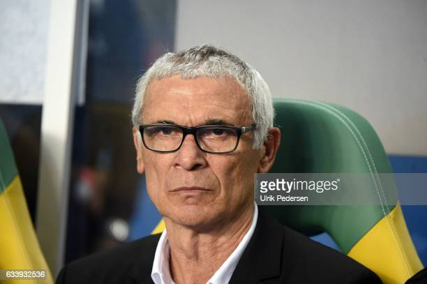 Hector Cuper Head coach of Egypt during the African Nations Cup Final match between Cameroon and Egypt at Stade de L'Amitie on February 5 2017 in...