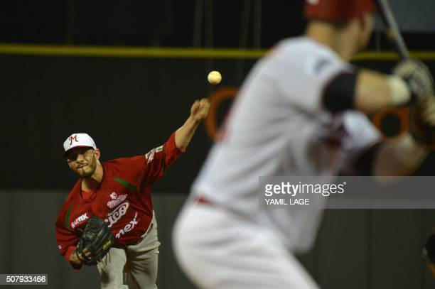 TOPSHOT Hector Daniel Rodrigues of Mexico pitches against Dominican Republic during their 2016 Caribbean baseball series game on February 1 2016 in...