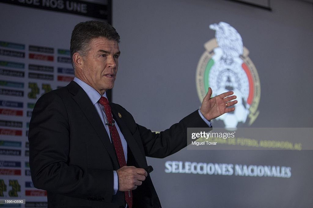 Hector Gonzalez Iñarritu (C) member of the Mexican Federation of Football speaks during a press conference at the High Performance Center on January 15, 2013 in Mexico City, Mexico. Tournament list and matches that the national soccer teams will face this year were announced at the press conference.