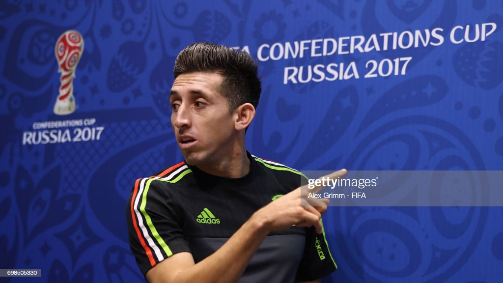 Hector Herrera arrives for a Mexico press conference during the FIFA Confederations Cup Russia 2017 at Fisht Olympic Stadium on June 20, 2017 in Sochi, Russia.