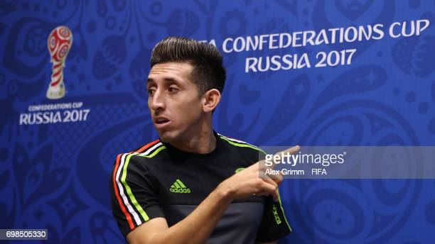 Hector Herrera arrives for a Mexico press conference during the FIFA Confederations Cup Russia 2017 at Fisht Olympic Stadium on June 20 2017 in Sochi...