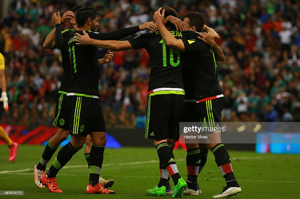 Hector Herrera celebrates after scoring the second goal of his team during the match between Mexico and El Salvador as part of the 2018 FIFA World Cup Qualifiers at Azteca Stadium on November 13, 2015 in Mexico City, Mexico.