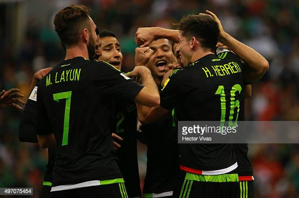 Hector Herrera celebrates after scoring the second goal of his team during the match between Mexico and El Salvador as part of the 2018 FIFA World...