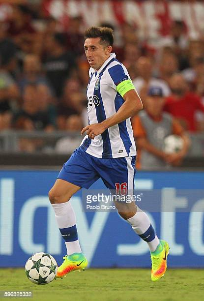 Hector Herrera of FC Porto in action during the UEFA Champions League qualifying playoff round second leg match between AS Roma and FC Porto at...