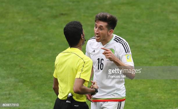 Hector Herrera of Mexico argues with Referee Fahad Al Mirdasi during the FIFA Confederations Cup Russia 2017 PlayOff for Third Place between Portugal...