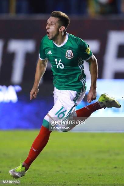 Hector Herrera of Mexico celebrates after scoring the third goal of his team during the match between Mexico and Trinidad Tobago as part of the FIFA...