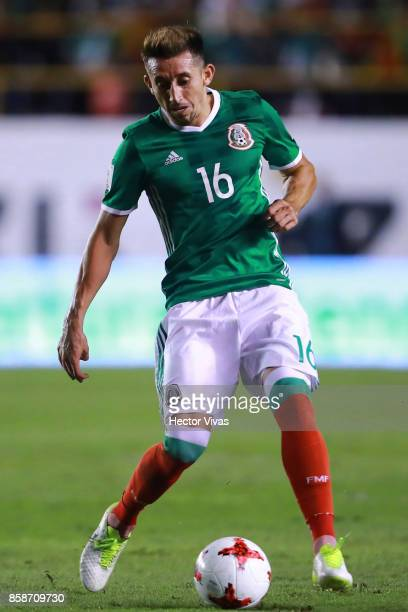 Hector Herrera of Mexico drives the ball during the match between Mexico and Trinidad Tobago as part of the FIFA 2018 World Cup Qualifiers at Alfonso...