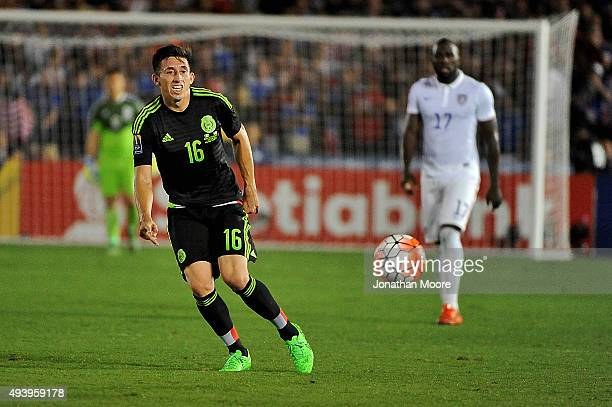 Hector Herrera of Mexico moves the ball during the 2017 FIFA Confederations Cup Qualifier against the United States at Rose Bowl on October 10 2015...