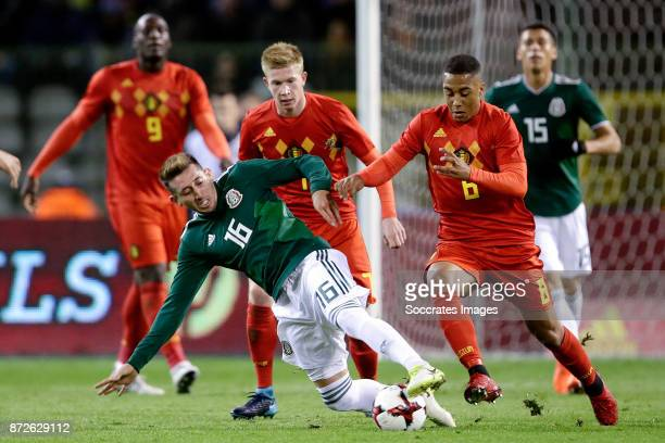 Hector Herrera of Mexico Youri Tielemans of Belgium during the International Friendly match between Belgium v Mexico at the Koning Boudewijnstadion...