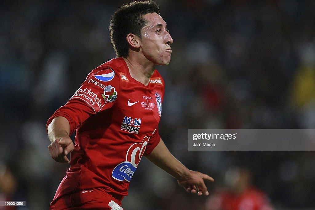 Hector Herrera of Pachuca celebrates a goal against Atlante during a match between Pachuca v Atlante as parte of the Clausura 2013 Liga MX at Hidalgo...