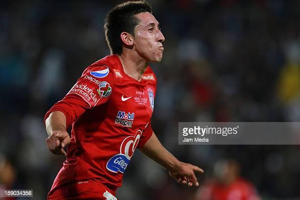 Hector Herrera of Pachuca celebrates a goal against Atlante during a match between Pachuca v Atlante as parte of the Clausura 2013 Liga MX at Hidalgo...
