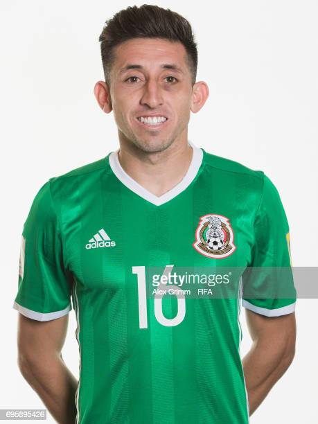 Hector Herrera poses for a picture during the Mexico team portrait session on June 14 2017 in Kazan Russia