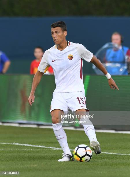 Hector Moreno of AS Roma controls the ball during the International Champions Cup soccer match against Paris SaintGermain at Comerica Park on July 19...