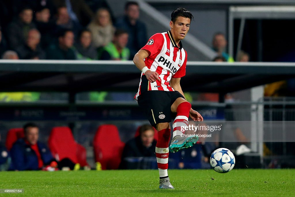 Hector Moreno of Eindhoven runs with the ball during the UEFA Champions League Group B match between PSV Eindhoven and VfL Wolfsburg at Philips...