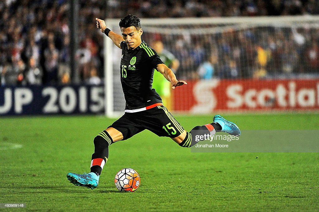 Hector Moreno of Mexico attempts a goal during the 2017 FIFA Confederations Cup Qualifier against the United States at Rose Bowl on October 10 2015...