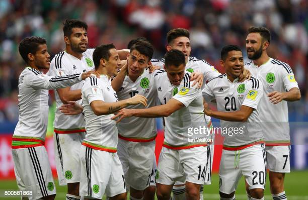 Hector Moreno of Mexico celebrates a disallowed goal with his Mexico team mates during the FIFA Confederations Cup Russia 2017 Group A match between...