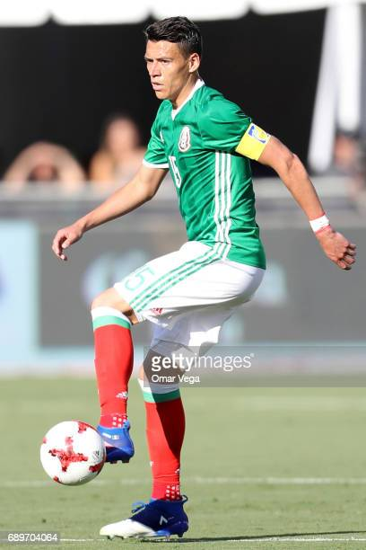 Hector Moreno of Mexico controls the ball during an International Friendly match between Mexico and Croatia at Los Angeles Memorial Coliseum on May...