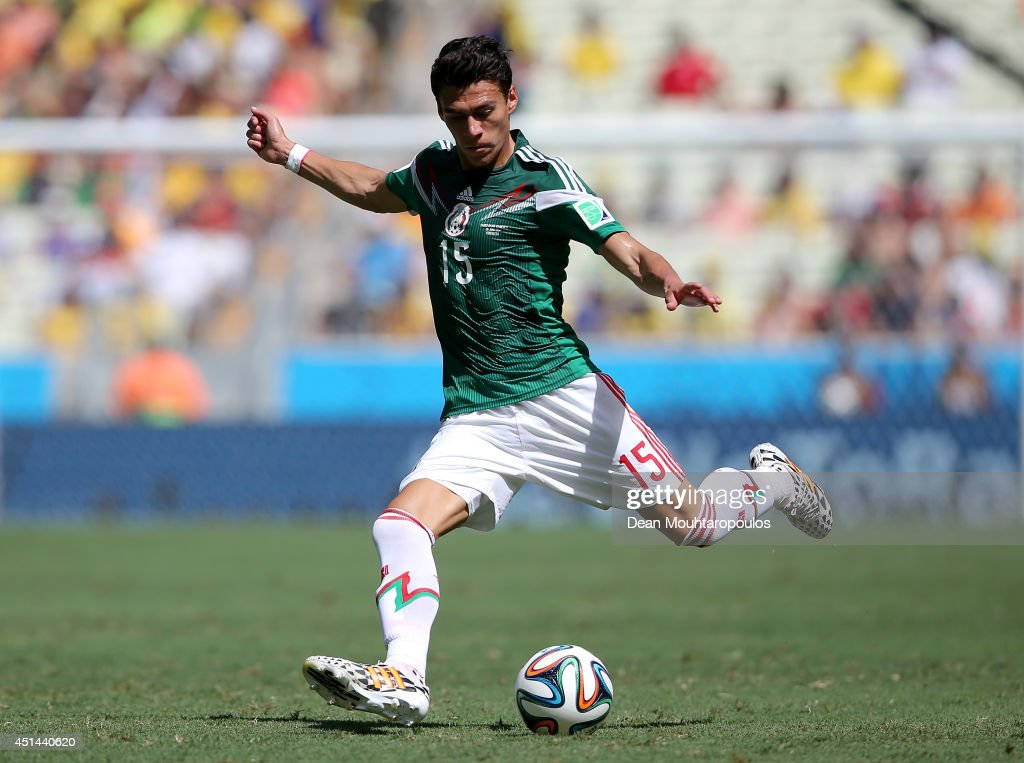 Hector Moreno of Mexico controls the ball during the 2014 FIFA World Cup Brazil Round of 16 match between Netherlands and Mexico at Castelao on June...