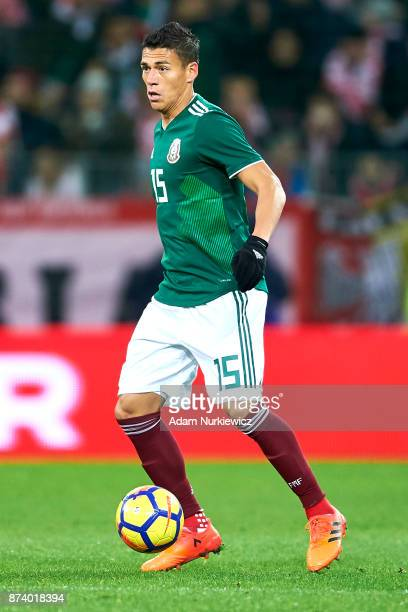 Hector Moreno of Mexico controls the ball during the International Friendly match between Poland and Mexico at Energa Arena Stadium on November 13...