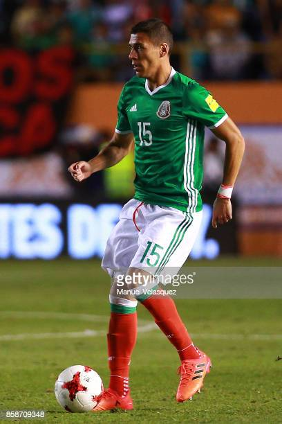 Hector Moreno of Mexico drives the ball during the match between Mexico and Trinidad Tobago as part of the FIFA 2018 World Cup Qualifiers at Alfonso...