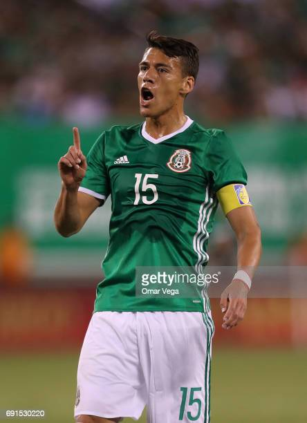 Hector Moreno of Mexico gestures during the friendly match between the Republic of Ireland and Mexico at MetLife Stadium on June 01 2017 in East...