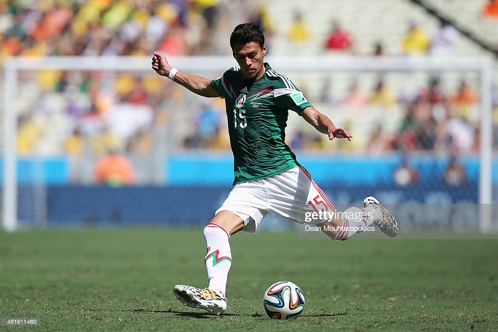 Hector Moreno of Mexico in action during the 2014 FIFA World Cup Brazil Round of 16 match between Netherlands and Mexico at Castelao on June 29 2014...