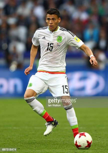 Hector Moreno of Mexico in action during the FIFA Confederations Cup Russia 2017 Group A match between Portugal and Mexico at Kazan Arena on June 18...