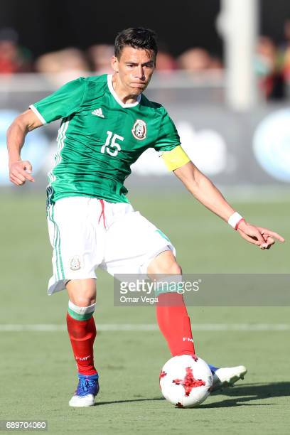 Hector Moreno of Mexico makes a pass during an International Friendly match between Mexico and Croatia at Los Angeles Memorial Coliseum on May 27...