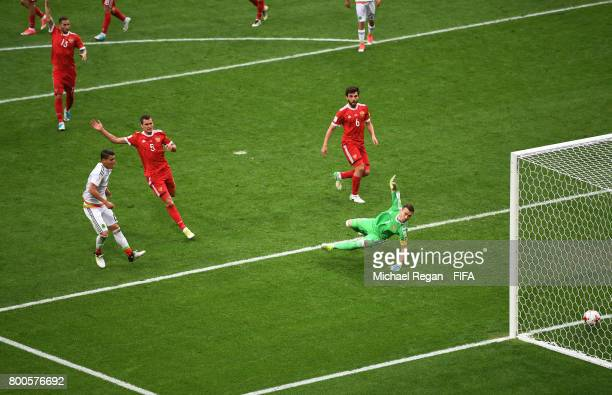 Hector Moreno of Mexico scores his sides third goal past Igor Akinfeev of Russia but it is later disallowed by the VAR during the FIFA Confederations...