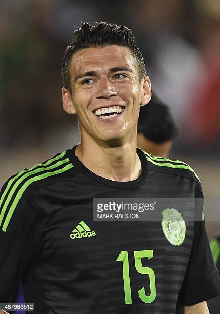 Hector Moreno of Mexico smiles during a friendly football match against Ecuador at the LA Memorial Coliseum in Los Angeles California on March 28...