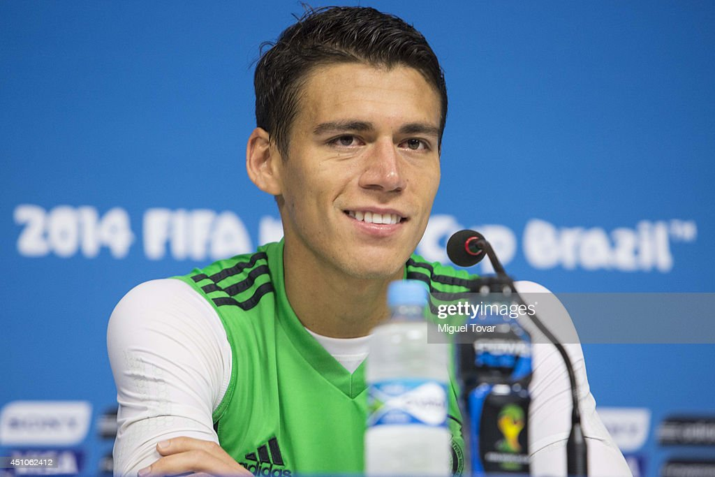 Hector Moreno of Mexico talks during a press conference at Arena Pernambuco Stadium on June 22 2014 in Recife Brazil Mexico will face Croatia on June...