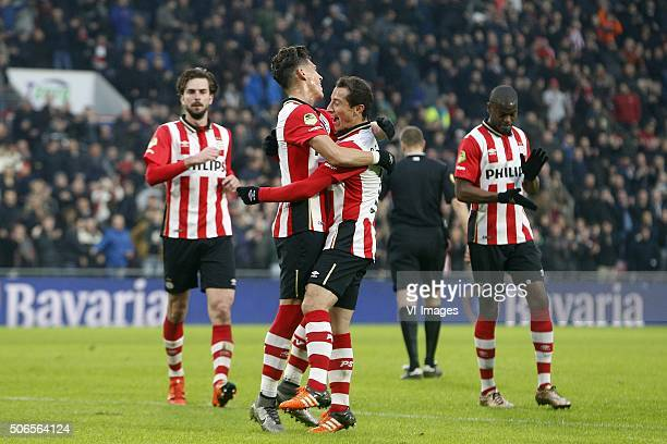 Hector Moreno of PSV Andres Guardado of PSV during the Dutch Eredivisie match between PSV Eindhoven and FC Twente at the Phillips stadium on January...
