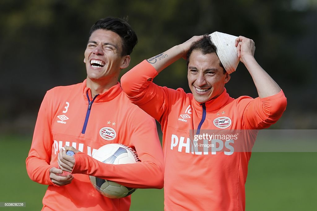 Hector Moreno of PSV Andres Guardado of PSV during the training camp of PSV Eindhoven on January 7 2016 at Paola Malta
