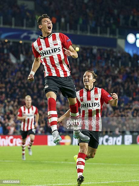 Hector Moreno of PSV Andres Guardado of PSV during the UEFA Champions League group B match between PSV Eindhoven and Manchester United on September...