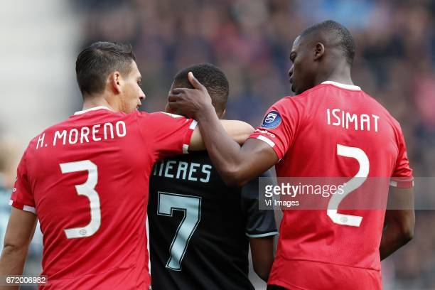 Hector Moreno of PSV David Neres of Ajax Nicolas IsimatMirin of PSVduring the Dutch Eredivisie match between PSV Eindhoven and Ajax Amsterdam at the...
