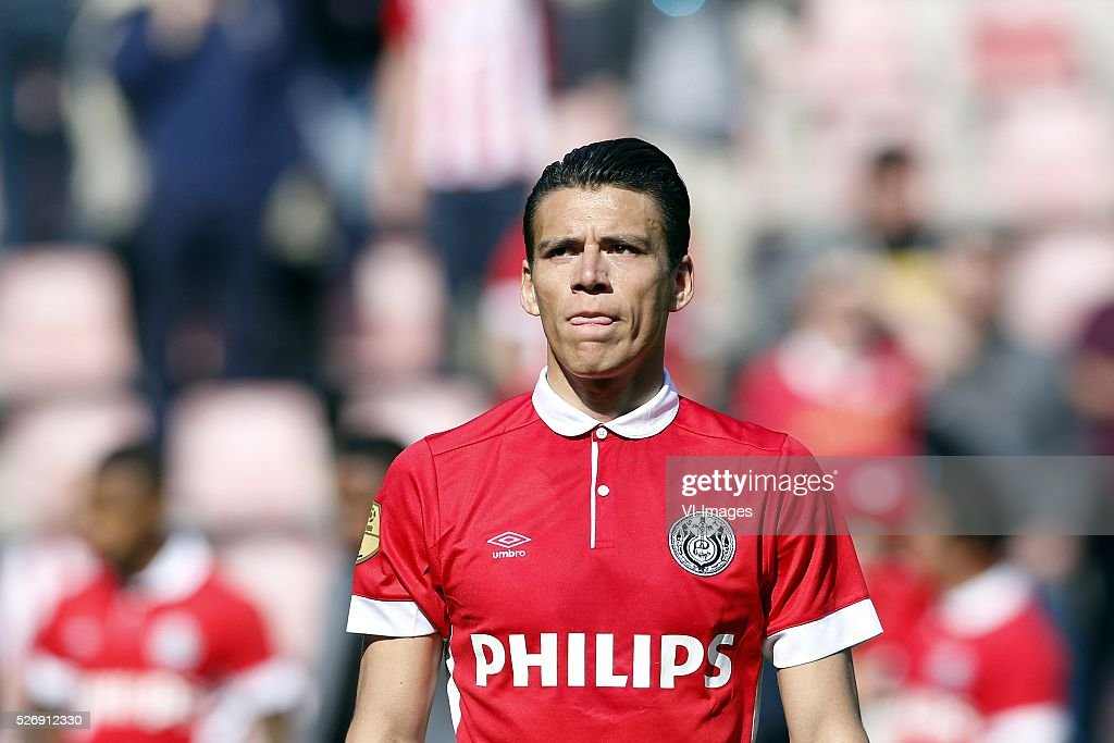 Hector Moreno of PSV during the Dutch Eredivisie match between PSV Eindhoven and SC Cambuur Leeuwarden at the Phillips stadium on May 01, 2016 in Eindhoven, The Netherlands
