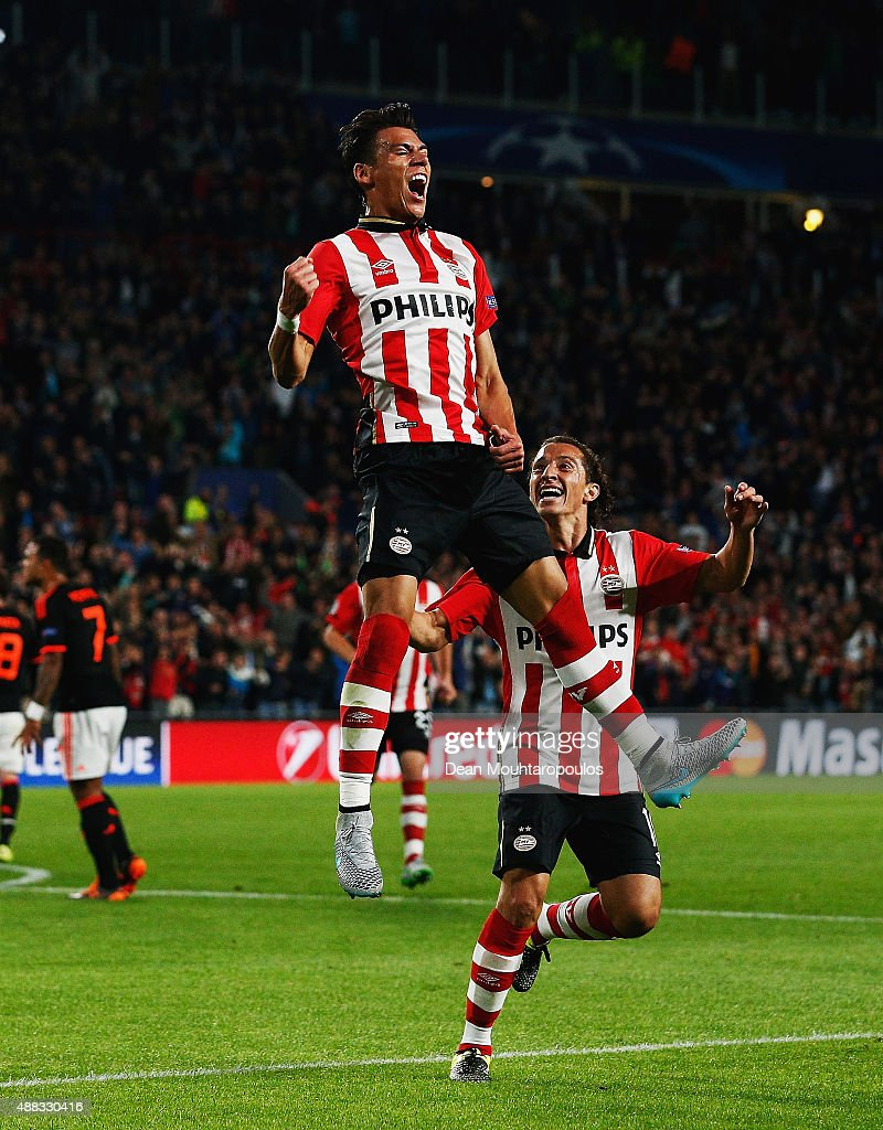 Hector Moreno of PSV Eindhoven celebrates as he scores their first and equalising goal during the UEFA Champions League Group B match between PSV Eindhoven and Manchester United at PSV Stadion on September 15, 2015 in Eindhoven, Netherlands.