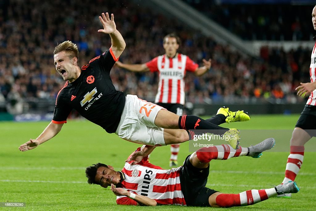 Hector Moreno of PSV Eindhoven, Luke Shaw of Manchester United during the UEFA Champions League group B match between PSV Eindhoven and Manchester United on September 15, 2015 at the Philips stadium in Eindhoven, The Netherlands.