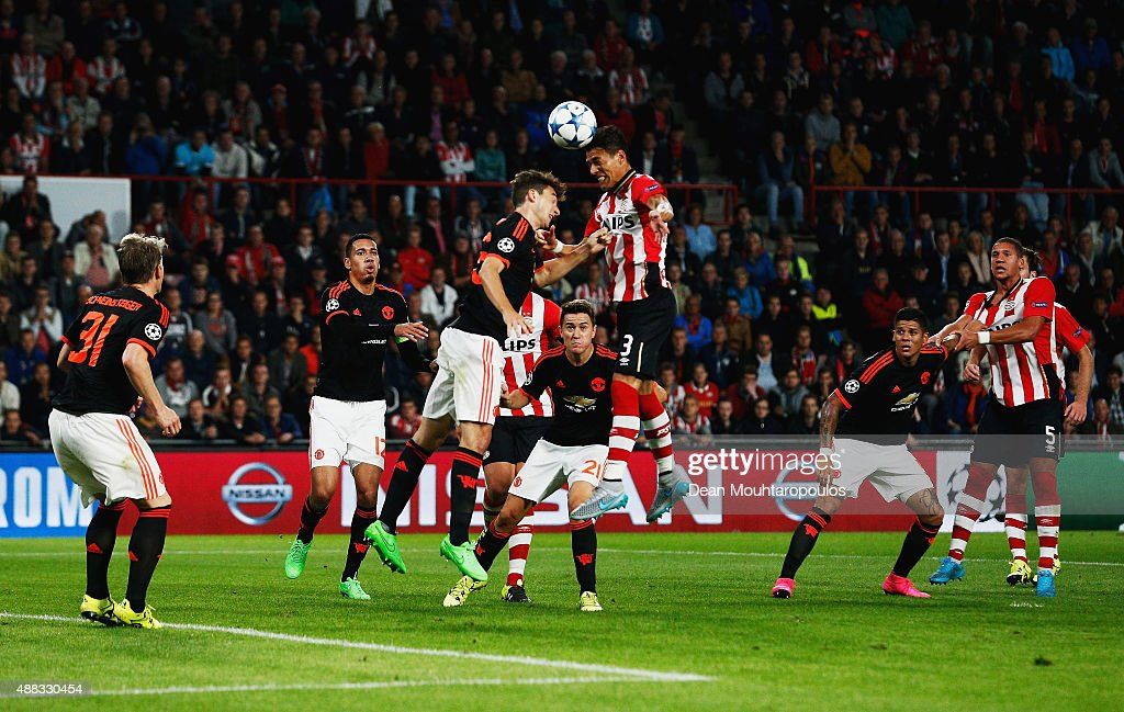 Hector Moreno of PSV Eindhoven scores their first and equalising goal during the UEFA Champions League Group B match between PSV Eindhoven and...