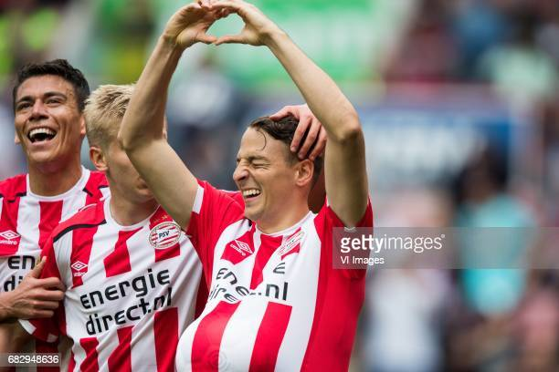 Hector Moreno of PSV Oleksandr Zinchenko of PSV Santiago Arias of PSVduring the Dutch Eredivisie match between PSV Eindhoven and PEC Zwolle at the...