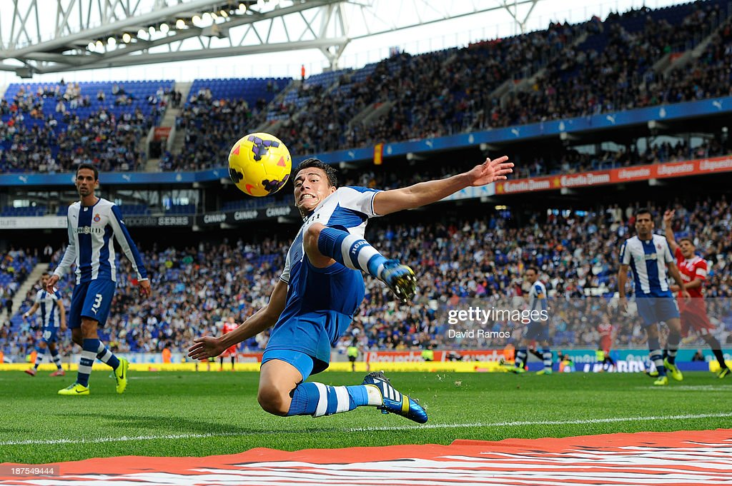 Hector Moreno of RCD Espanyol clears the ball during the La Liga match between RCD Espanyol and Sevilla FC at CornellaEl Prat Stadium on November 10...