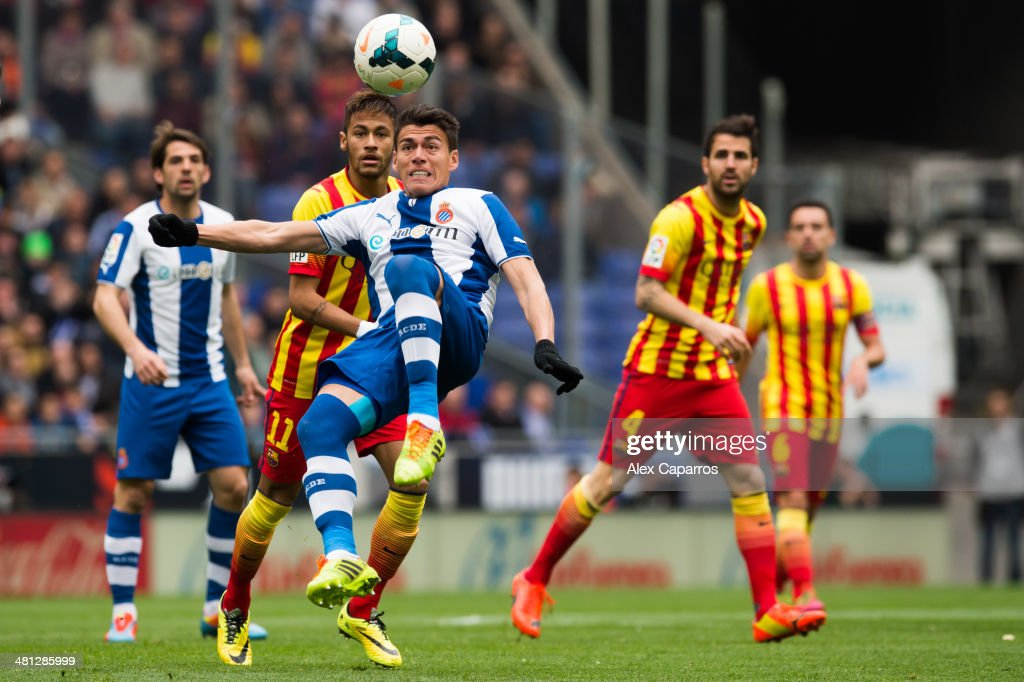 Hector Moreno of RCD Espanyol kicks the ball during the La Liga match between RCD Espanyol and FC Barcelona at CornellaEl Prat Stadium on March 29...