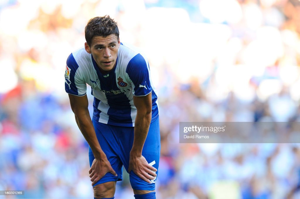 Hector Moreno of RCD Espanyol looks on during the La Liga match between RCD Espanyol and Real Betis Balompie at CornellaEl Prat Stadium on September...