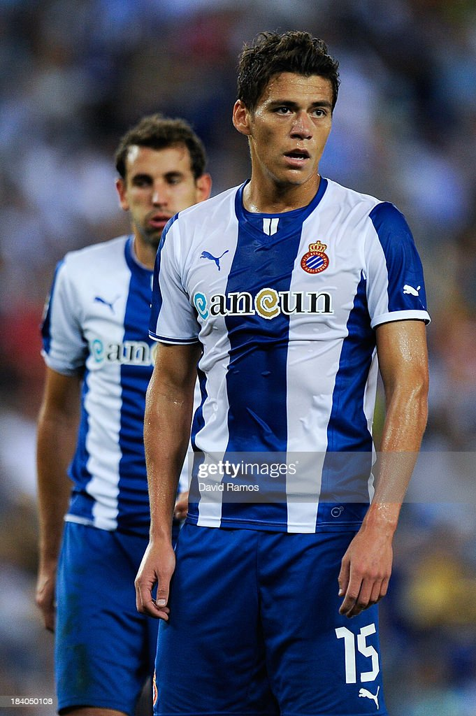 Hector Moreno of RCD Espanyol looks on during the La Liga match between RCD Espanyol and Getafe CF at CornellaEl Prat Stadium on September 29 2013 in...