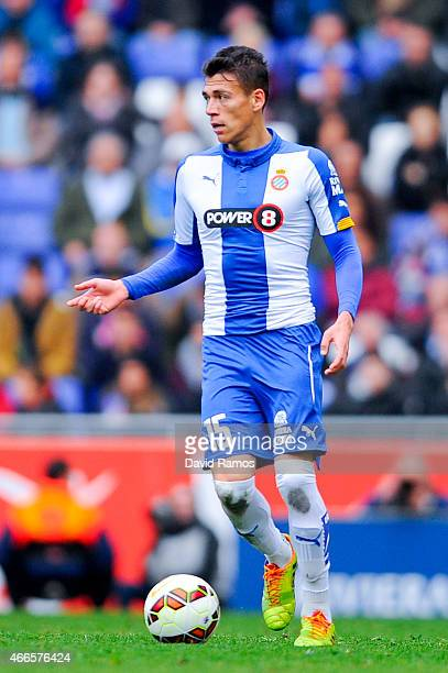 Hector Moreno of RCD Espanyol runs with the ball during the La Liga match between RCD Espanyol and Club Atletico de Madrid at Power 8 Stadium on...