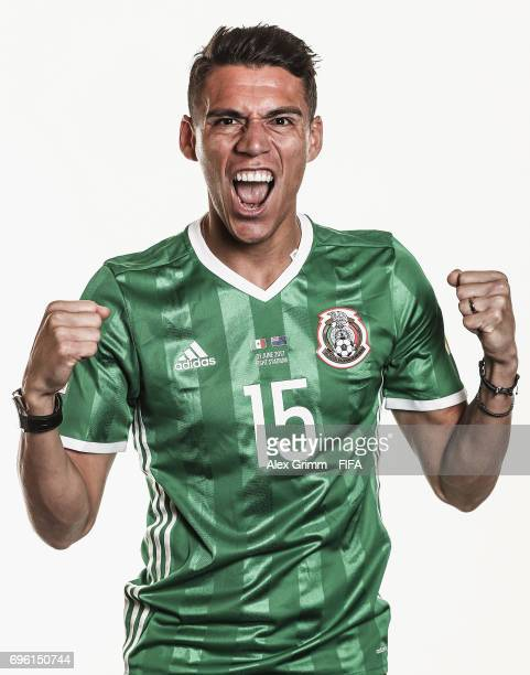 Hector Moreno poses for a picture during the Mexico team portrait session on June 14 2017 in Kazan Russia